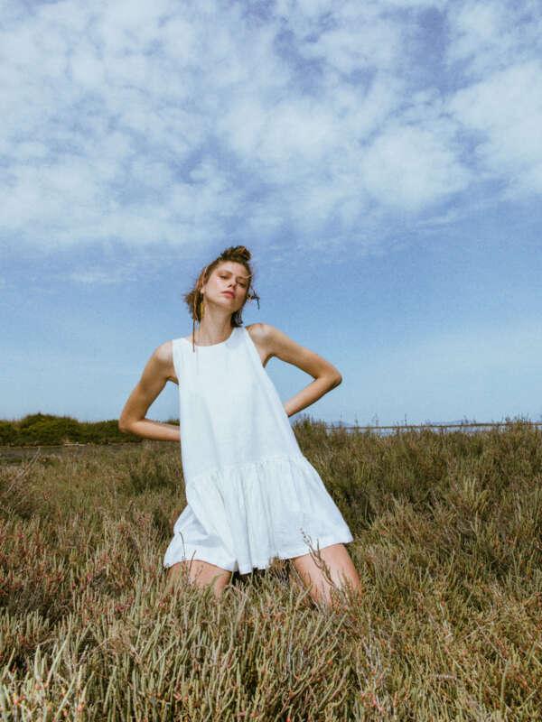 Kido white short ramie dress