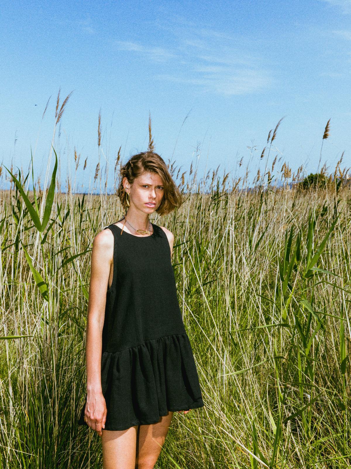 Kido black short ramie dress