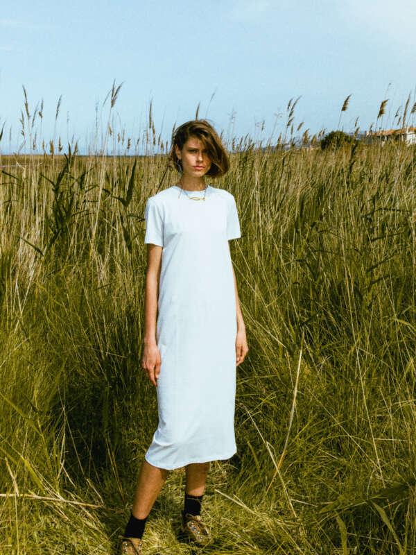 Uni light bleu striped dress