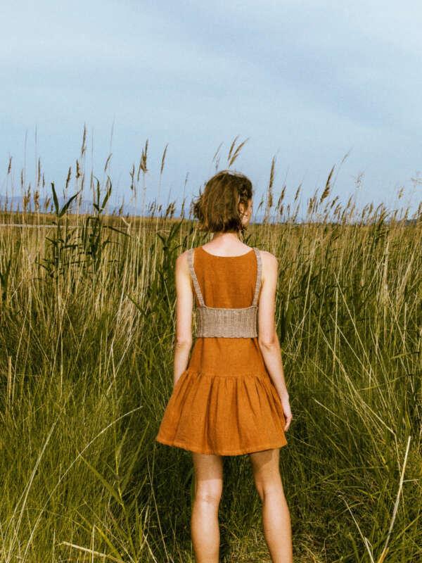 Kido ceramic short ramie dress, back side