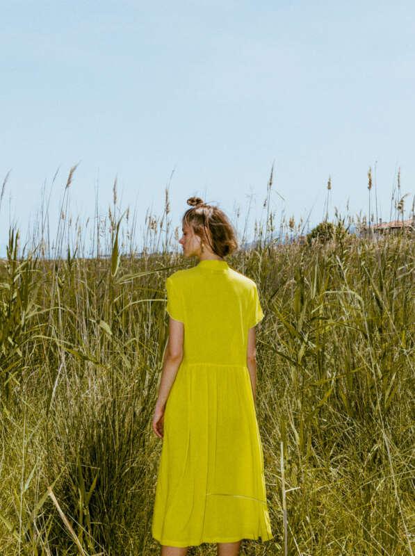nakami dress lime - back